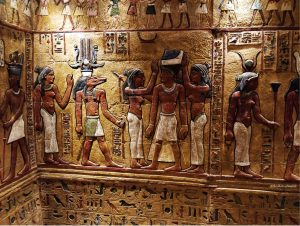 Wall paintings inside the pyramids