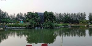 The waterfalls at the Heliconia garden